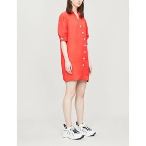 Sandro Paris Kunga Crepe-linen Red Button Dress 38